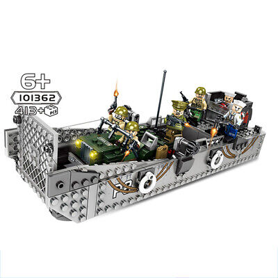 WW2 Military Landing Craft Boat + Army Jeep Truck + Soldiers Normandy Fit Lego!- • 22.52£