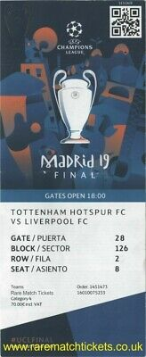 £2.99 • Buy Reproduction 2019 LIVERPOOL TOTTENHAM Champions League Final PERSONALISED Ticket