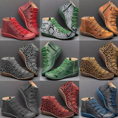 UK Women Arch Support Side Zip Wedge Heel Ankle Flat Boots Autumn Comfy Shoes • 11.80£
