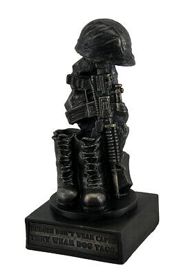 Honoring The Fallen Military Soldier's Boots Helmet & Rifle Statue 8 Inch • 16.34£