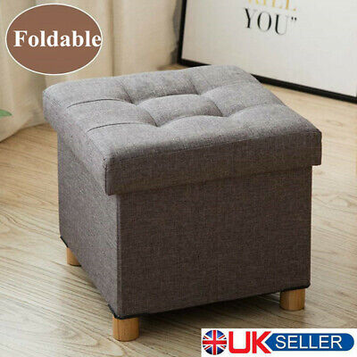 Fabric Foot Rest Stool Storage Box Chair Cube Footstool Pouf Bench With Wood Leg • 17.20£