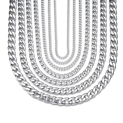 MENS Unisex Silver Curb Chain Link Stainless Steel Statement Necklace Bracelet • 4.38£