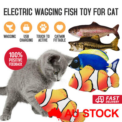 AU12.95 • Buy Electric Dancing Fish Flopping Wagging Toy Dog Cat Catnip With USB Rechargeable