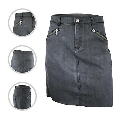 Womens Simply Be Denim Skirt Frayed Hem Ash Black Plus Size 14 16 18 20 24 26 • 9.97£