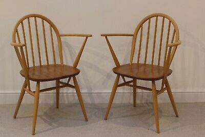 Vintage Ercol Windsor 370a Low Back Carver Arm Chairs In Elm And Beech  • 220£