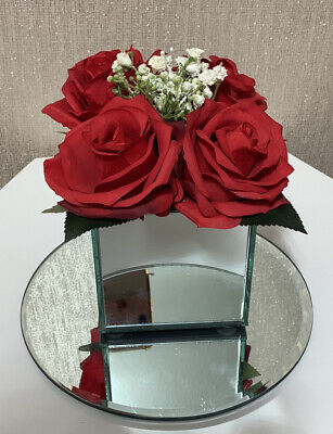 Artificial Red FLOWERS ARRANGEMENTS IN MIRROR CUBE GLASS VASE • 18.99£