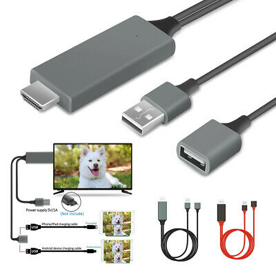 $ CDN11.32 • Buy 1080P HDMI Mirroring Cable Phone To TV HDTV Adapter For IPhone IPad Android