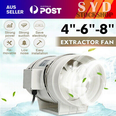 AU49.99 • Buy 4/6/8  Inch Silent Extractor Fan Duct Hydroponic Inline Exhaust Vent Industrial