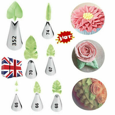 7pcs Russian Icing Piping Nozzles Tips Leaf Pastry Cake Baking Decorating Tools • 4.99£