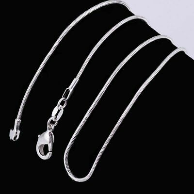 925 Solid Sterling Silver Snake Chain Necklace Pendant 18 Inch Jewellery 1mm UK • 3.99£