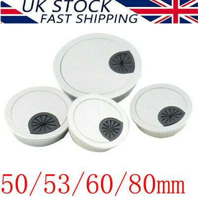 1/2/4 Pcs 50/53/60/80mm Desk Grommet Table Cable Tidy Wire Hole Cover Chrome UK • 2.59£