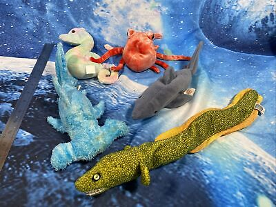 TY Retired Beanie Baby Sea Bundle Collectible Sledge Morrie Crunch Wiggly & Neon • 9.99£