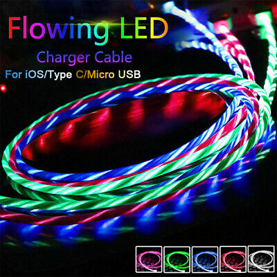 LED Lead IOS /Type C /Micro USB Sync Cord Fast Charger Cable For IPhone Samsung • 3.76£