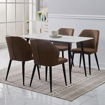 £99.99 • Buy 2/4/6 New Dining Chairs Faux Leather Black Metal Leg Home Restaurant Chair Set