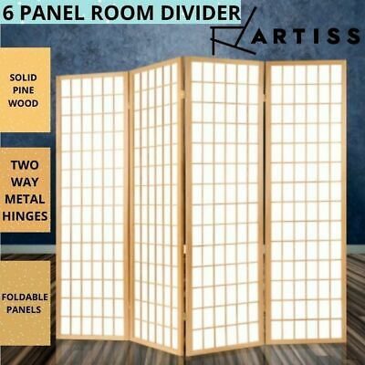 AU236.47 • Buy Artiss 6 Panel Room Divider Privacy Screen Foldable Pine Wood Stand Natural AU