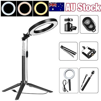AU17.98 • Buy 8  Dimmable LED Ring Light Tripod Stand Selfie Desk Lamp Make Up +Remote Control