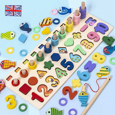 £12.99 • Buy Wooden Puzzle Number & Shape Sorter Toy Educational Learn To Count Gift For Kids