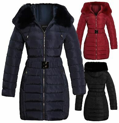 £42.95 • Buy Womens Faux Fur Parka Coat Quilted Jacket Size 16 14 12 10 8 Black Red Navy