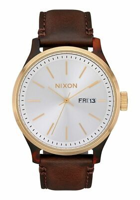 £47.43 • Buy Nixon Sentry Luxe Men's 42mm Silver Dial Brown Leather Watch A1263-3169