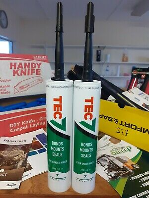 Tec 7, 2 X Tubes Black Sealing Adhesive, Underwater Sealant, Seal, Mount, Bond. • 22£