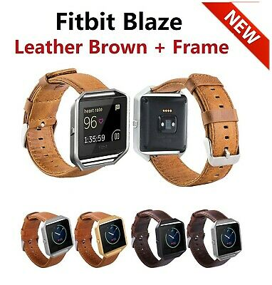 $ CDN18.25 • Buy NEW Fitbit Blaze, Accessory Replacement Brown Leather Wrist Band Strap + Frame