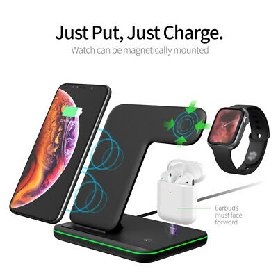 AU16.99 • Buy Wireless Charger 3 In 1 Charging Station Pad 15W Fast Charge IOS Android L7M4