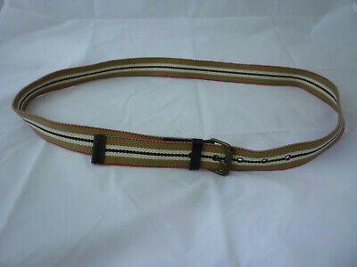 Burberry Fabric & Leather Belt Striped Brown Black White UK Made New - 36 - W36 • 29.99£