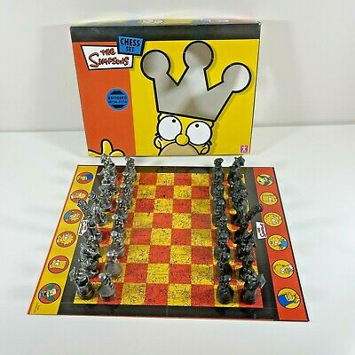 The Simpsons Chess Set Antiqued Metal Style Fully Complete & VGC • 24.99£