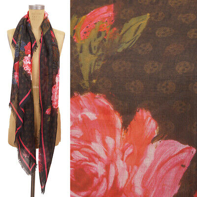 AU308.71 • Buy NEW $545 ALEXANDER MCQUEEN Black Red PAINTED FLORAL Print Modal Silk Shawl SCARF