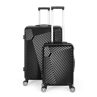 """View Details Black Luggage Sets 2 Piece Travel Spinner Suitcase Lightweight ABS 20"""" 28"""" • 68.95$"""