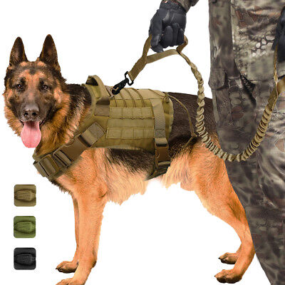 AU30.59 • Buy K9 No Pull Military Dog Vest And Leash Molle Tactical Harness Training 3 Sizes