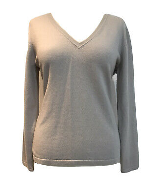 Designer N.PEAL 100% CASHMERE GREY Short V Neck Knit Jumper Top UK 14 • 45£