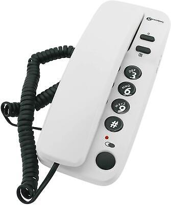Corded Office Telephone Wall Mounted Desk Landline Home Big Buttons White Phone • 12.11£