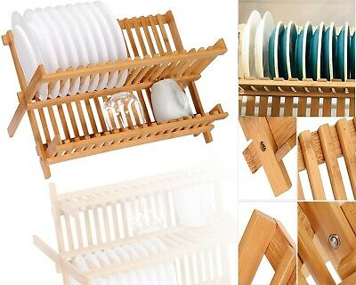 £19.99 • Buy 2 Tier Beach Wooden Folding Kitchen Dish Drainer Rack Plate Cups Storage Stand