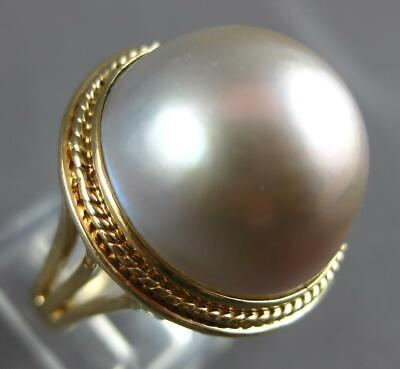 $1050 • Buy Estate Large Aaa Pink Mabe Pearl 14kt Yellow Gold 3d Classic Filigree Ring 27178
