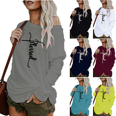 Women Off The Shoulder Sweatshirt Jumper Casual Pullover Blouse Tops Plus Size • 15.86£