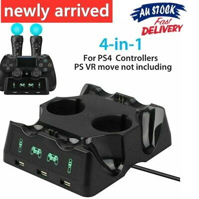 AU17.80 • Buy 4 In 1 Charger Charging Dock For PS 4 Playstation VR PSVR Move Controllers Stand