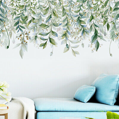 2XTropical Leaves Wall Stickers Green Plant Palm Leaf Decals Home Office Arts Uk • 6.23£