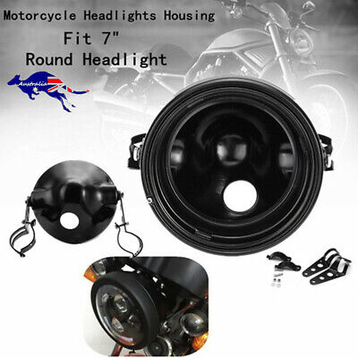 AU61.88 • Buy Motorcycle 7 Inch LED Headlight Mounting Housing Bucket Black Shell For Harley