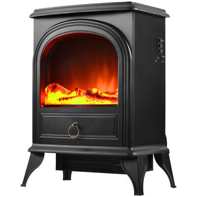 Electric Fireplace Compact Stove Fire Flame Log Wood Burner Effect Freestanding • 69.99£