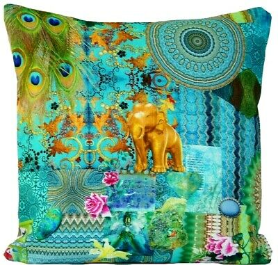Indian Summer Cushion Cover Turquoise Gold Elephant Peacock Feather 16  18  20   • 26.99£