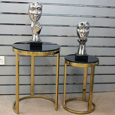 Gold Orion Set Of 2 Nesting Tables Black Glass Top Round Side Table Furniture • 164.95£