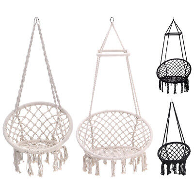 Hanging Macrame Hammock Swing Chair Cotton Rope Seat Garden Yard W/without Stand • 159.54£
