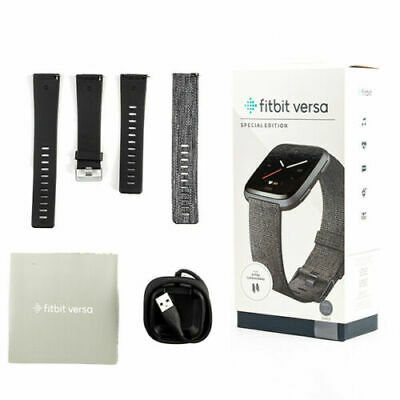 $ CDN148.58 • Buy NEW Fitbit Versa Special Edition SmartWatch Tracker Charcoal Woven Black Graphit