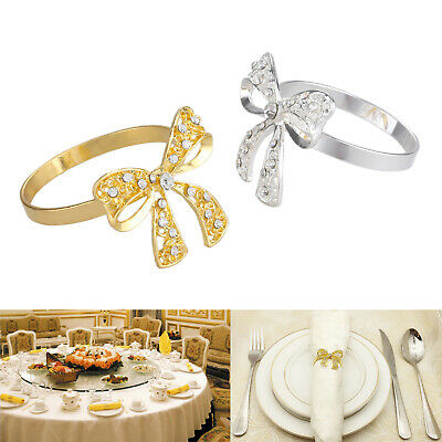 6pc Butterfly Knot Napkin Rings Serviette Holder Buckle Luxury Party Table Decor • 10.69£