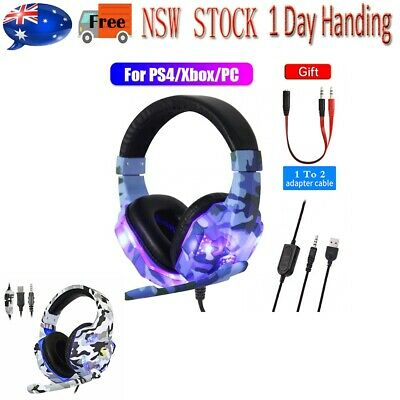 AU31.18 • Buy Gaming Headset For Xbox One PS4 Nintendo Switch PC Laptop Stereo Mic Headphones