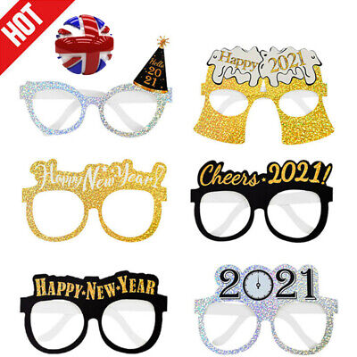 £4.48 • Buy 6PCS 2021 Eve Festival Party New Year Glitter Paper Glasses Props  Decoration