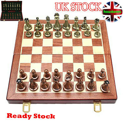 11 Inches Wooden Chess Set -with Metal Chess Pieces Chess Board Game Set  UK NEW • 43.99£