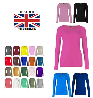New Womens Ladies Long Sleeve Stretch Plain Round Scoop Crew Neck T Shirt Top  • 5.49£