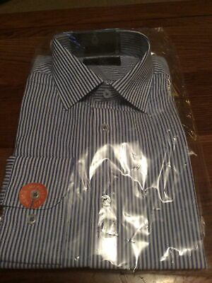 """M&S Mens Easy Iron Shirt 15.5"""" Tailored Fit Blue Mix New • 13.90£"""